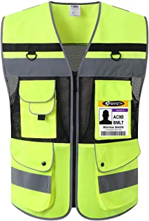 JKSafety 12 Pockets Class 2 High Visible Reflective Safety Vest Zipper Front Large Back Pockets Breathable and Mesh Lining ,Yellow-Black Meets ANSI/ISEA Standards(Yellow-Black Medium)