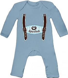 ShirtStreet Wiesn Baby Strampler Langarm Schlafanzug Jungen Mädchen Oktoberfest - Junge Lederhose Lausbub