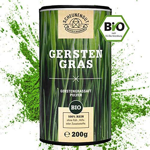 EINFÜHRUNGSANGEBOT Scheunengut® 100% Gerstengrassaft Pulver Bio [200g] I Vegan und in Rohkostqualität | Gerstengrassaftpulver abgefüllt in Deutschland