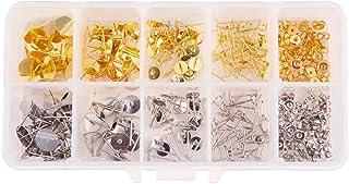PH PandaHall Elite 260 Pcs 4 Sizes 2 Colors Brass Earrings Posts Stud Blank Earring Pin Backs Flat Pad With 100 Pcs Earrin...