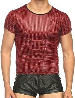 Sex icon Men Nightclub Sports Elastic Faux Leather Tight T-Shirts Undershirt