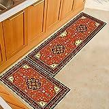WJSW 2 Stück Rutschfeste Küchenmatte Rückseite aus Gummi Fußmatte, Europäischer Stil Design Luxus Läufer Teppich Set, 60 * 90 + 60 * 180CM,two2,60 * 90+60 * 180CM
