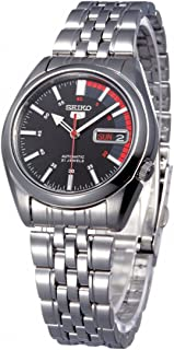 Seiko 5 Men's Black Dial Stainless Steel Automatic Watch - SNK375J1