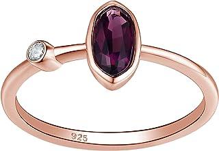 Wuziwen Sterling Silver Rings for Women 14k Rose Gold Created Purple Amethyst Cubic Zirconia Gemstone