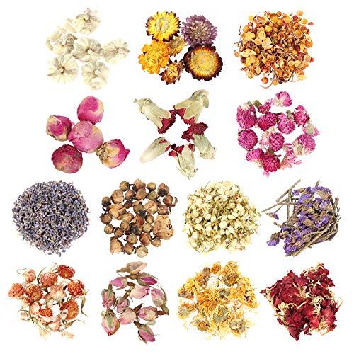 Peerless - Set di 14 fiori secchi per erbe aromatiche, per sapone, candela, resina, gioielli, aromatici naturali, 14 stili misti, fiori di rosa secchi, lavanda e gelsomino