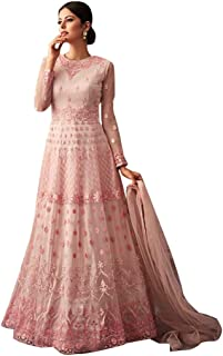 a7480875cb Pink Ethnic Traditional Designer Net Semi-stitched Anarkali Suit Indian  Muslim Women dress Bespoke 7823