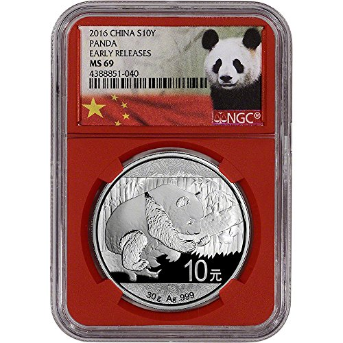 2016 CN China Silver Panda (30 g) Early Releases Red Core Holder 10 Yuan MS69 NGC