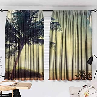 "KAKKSW Curtain, Hawaiian Decorations Collection, Natural Beach Sunset with Palm Silhouettes Shrubs Sea Clouds and Sand Landscape, Courtyard Porch Gazebo Decoration, 72""x63"", Teal Brown"