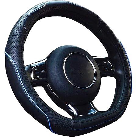 【Amazon限定ブランド】ZATOOTO ハンドルカバー sサイズ 軽自動車 D型 高級 本革 かっこいい 汚れ・滑りにくい 太め 手触りよし 3Dグリップ セレナ・スイフトなど用 ステアリングカバー ブルーライン LY106-BL
