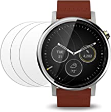 Screen Protector Compatible Moto 360 1st and 2nd Gen 46mm Smart Watch, AFUNTA 3 Pack Tempered Glass Film Anti-Scratch High Definition Shield
