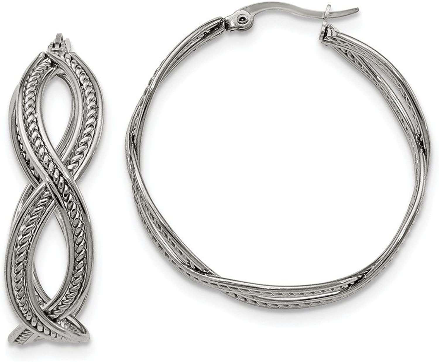 Beautiful Stainless Steel 35mm Twisted Hoop Earrings
