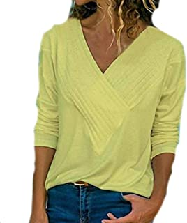 Comaba Women Simple Patched V Neck Long Sleeve Solid Tops T Shirts Blouse