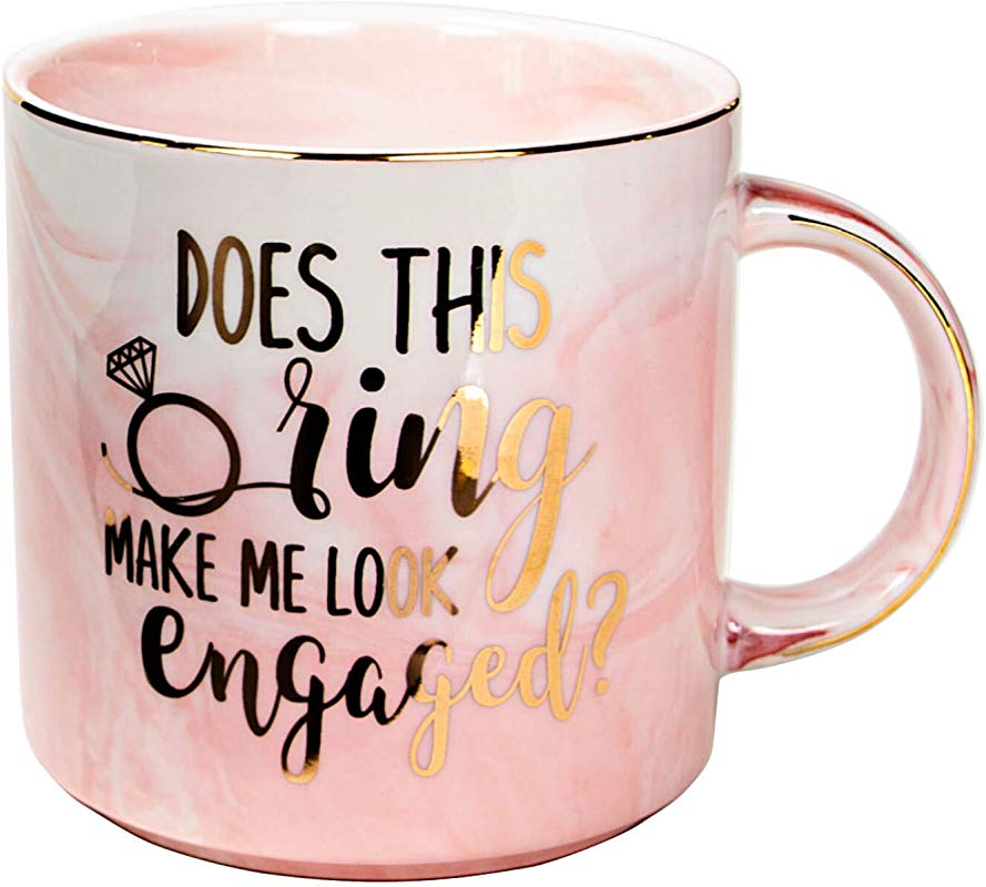 Vilight Engaged Mug Engagement Gifts For Her And Bride To Be Dose This Ring Make Me Look Engaged Pink Marble Ceramic Coffee Cup 11oz