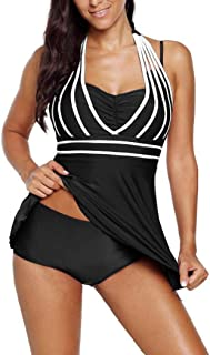 Comeon Tankini Swimsuits for Women Halter Neck Plus Size Bathing Suits Two Pieces Tankini Set