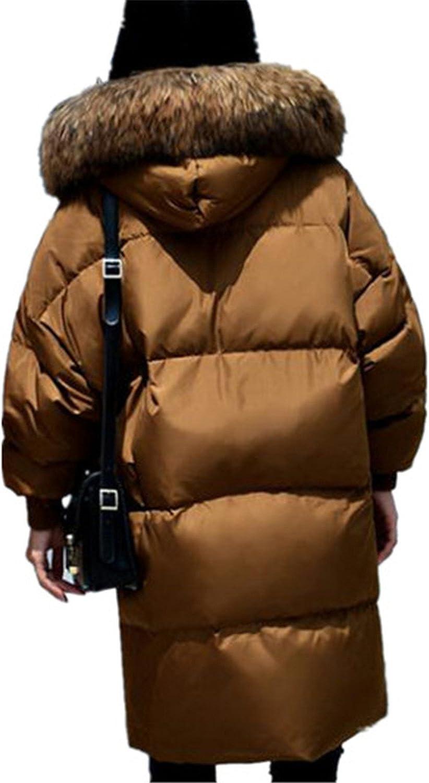 Josherly Women Winter Plus Size Puffer Jacket New Loose Warm Fur Hooded Parka Zipper Snow Outerwear
