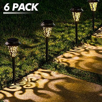 LeiDrail Solar Pathway Lights Outdoor Garden Path Light Warm White LED Black Metal Stake Landscape Lighting Waterproof for Yard Patio Walkway Lawn In-Ground Spike - 6 Pack