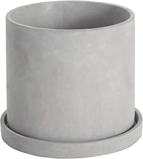 Ekirlin Flower Plant Pot Indoor 6 inch Grey Cement Planter with Drain Hole Saucer