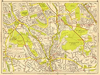 BECKENHAM BROMLEY CATFORD Grove Park Bellingham Bickley GEOGRAPHERS A-Z - 1956 - old map - antique map - vintage map - printed maps of London