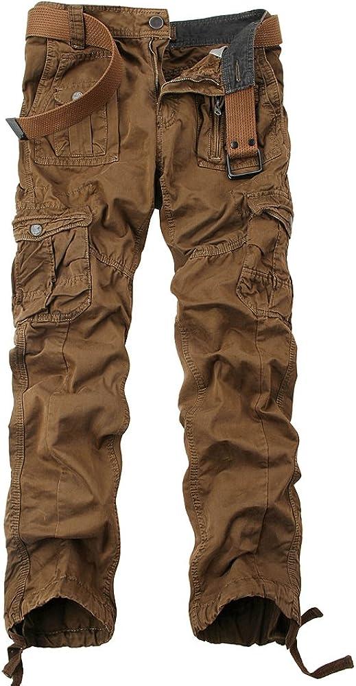 OCHENTA Men's Multi Pockets Military Cargo Pantss Outdoor Casual Wear #3380 Coffee 33