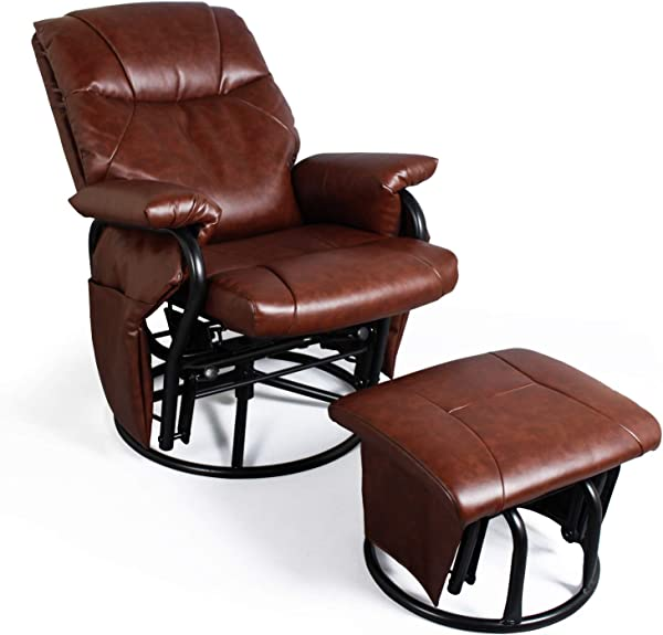 躺椅带搁脚凳客厅椅子人造皮革滑翔椅 360 度旋转休闲放松家具红棕色