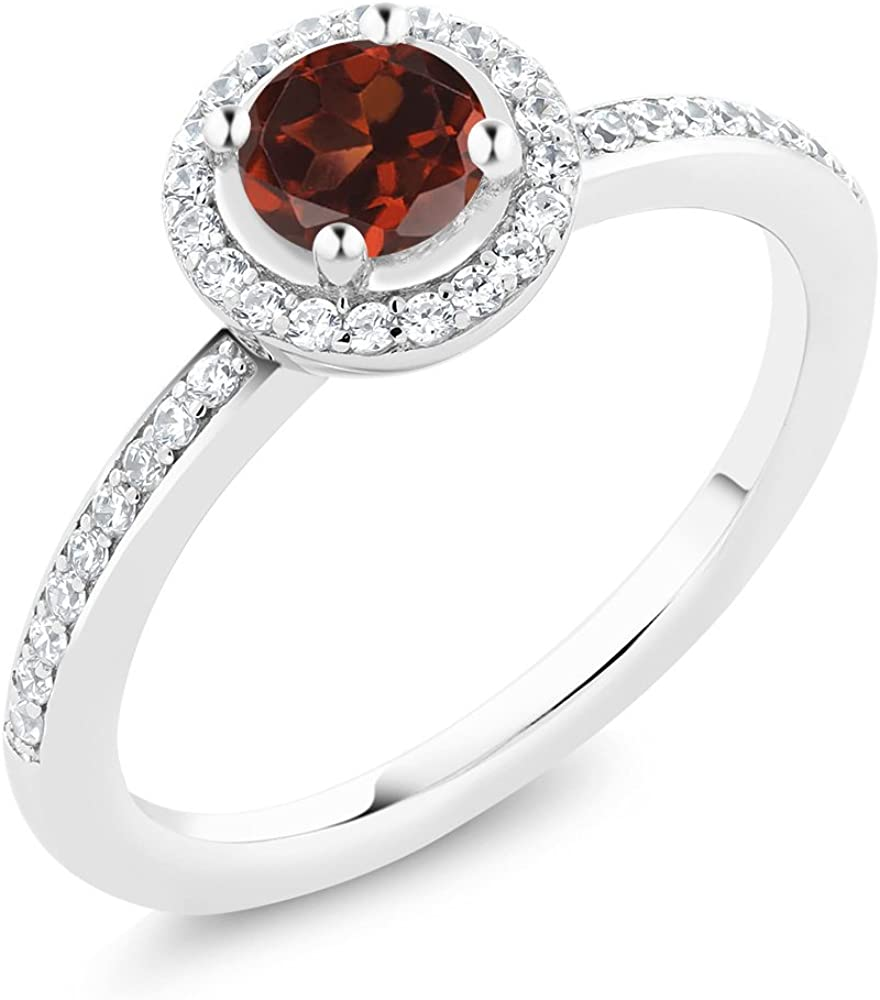 Gem Stone King 0.74 Ct Round 925 Garnet Silver Financial sales sale Red Sterling Ring Popularity
