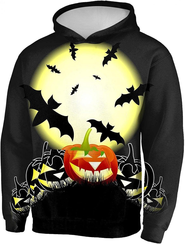 Aayomet Hoodies for Men Halloween Evil Bat Pattern Pullover Hoodies Winter Long Sleeve Kanga Pocket Unisex Shirts