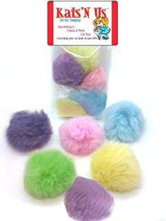 Kats'N Us Real Rabbit Fur Pom Pom Ball Cat Toy - Colorful Flying Fuzz Balls 5 Pk
