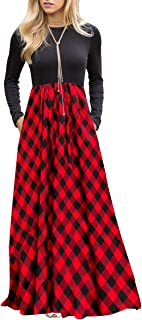 Women's Plaid Long Sleeve Empire Waist Full Length Maxi...