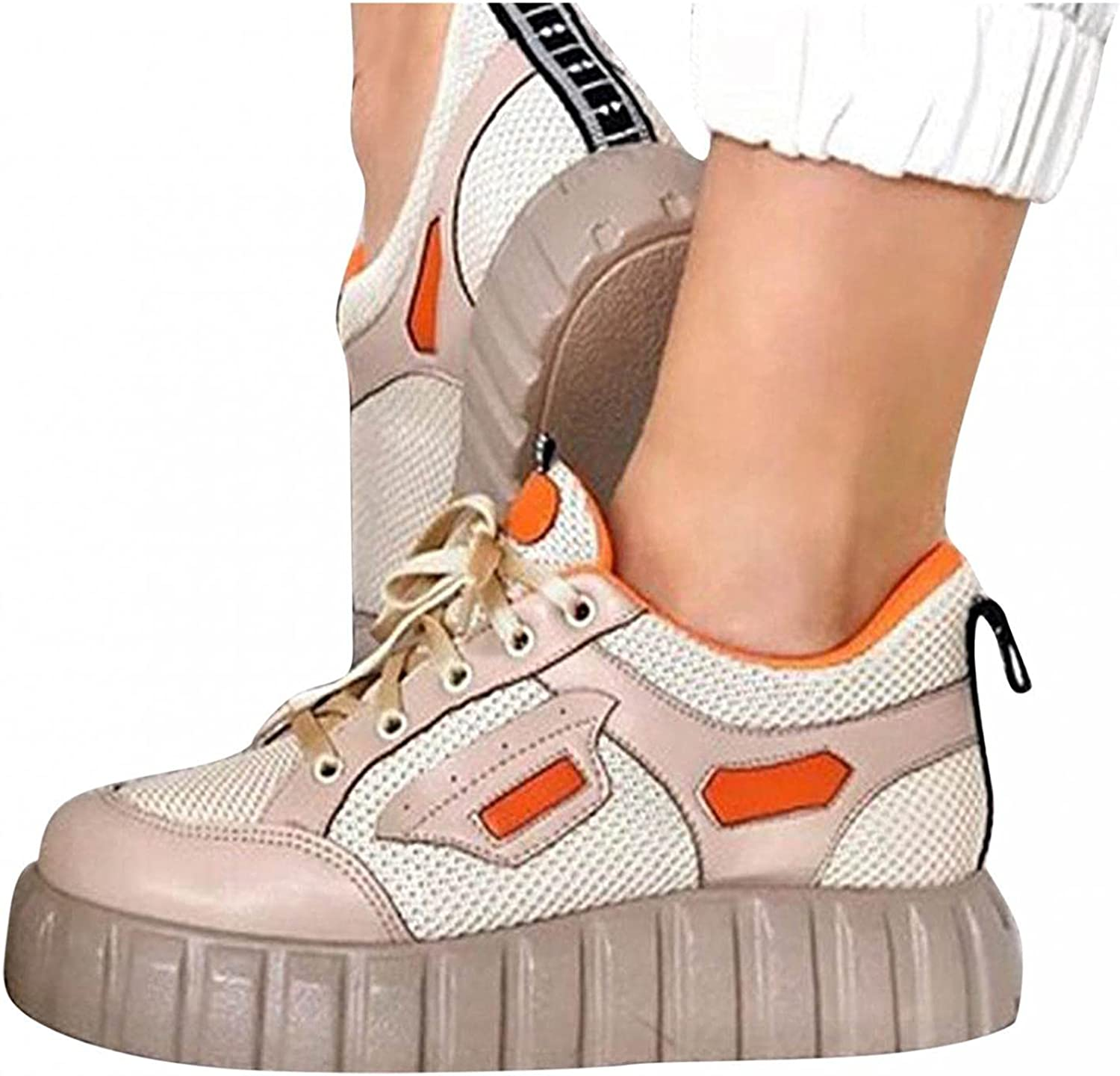 Hbeylia Platform Walking Shoes Fashion Sneakers For Women Girls Breathable Mesh Leather Lace Up Chunky Bottom Heels Low Top Canvas Shoes Running Tennis Hiking Slip On Flats Play Sneakers