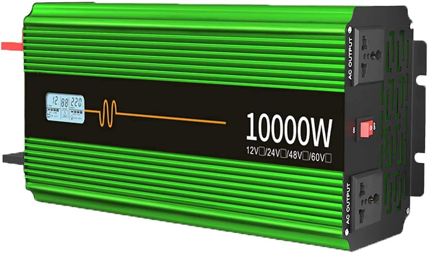 SGSG Inversor de Onda sinusoidal Pura de energía para automóvil 6000W / 8000W / 10000W 12V / 24V DC a 220V AC Convertidor con Pantalla LCD y 2 Salidas de CA Inversores solares para Viajes en barc