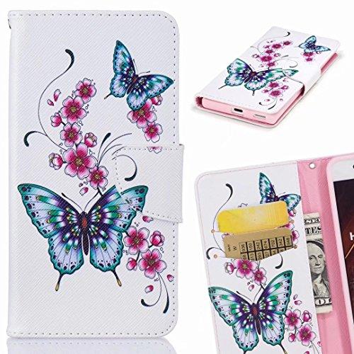 Yiizy Fundas Huawei Honor 7X / BND-L21 Tapa, Blue Butterfly Diseño Carcasa Cuero Funda Piel Billetera Cover Estuches Silicona TPU Magnética Cáscara Protector Ranura para Tarjetas Estilo
