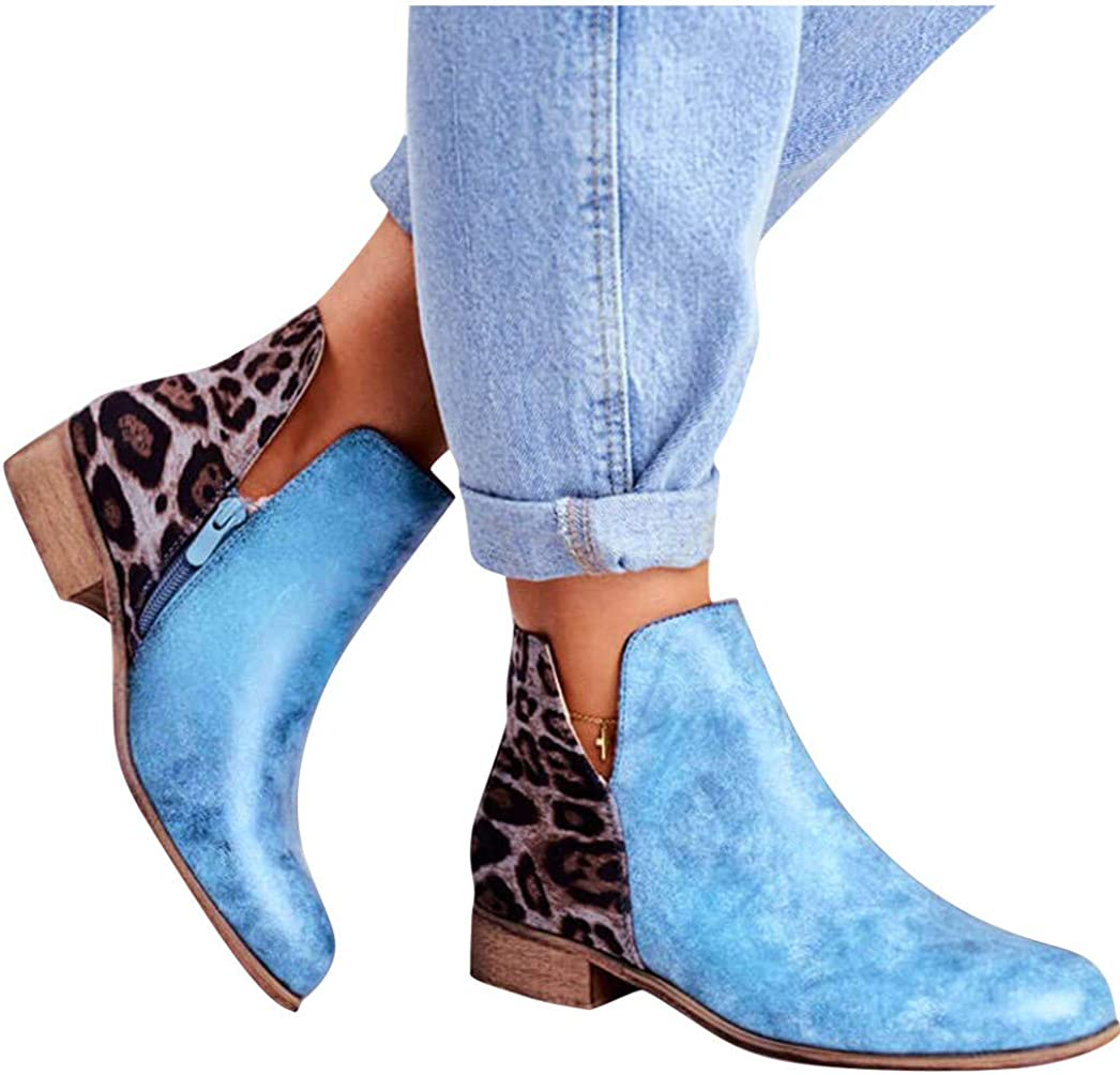 Gibobby Ankle Boots for Women Low Heel Ankle Booties Leopard Serpentine Boots Round Toe Zip up Short Boots Shoes