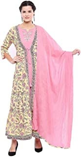 STOP by Shoppers Womens Round Neck Printed Embroidered Kurta Jacket and Dupatta Set