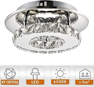 Ganeed 7.9Inch Modern Crystal Chandeliers,LED Ceiling Light, Stainless Steel Crystal Mini Round Flush Mount Ceiling Lamp for Dining Room Living Room Bedroom Hallway (12W / 6500K / Cool White)