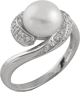 Bella Pearls Freshwater Pearl and Cubic Zirconia Sterling Silver Ring