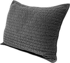Elegant Life Royal Cotton Velvet Pic-Stitch King Pillow Sham - 20'' x 36'', Gray