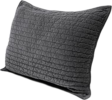 ELEGANT LIFE HOME Royal Cotton Velvet Pic-Stitch King Pillow Sham - 20'' x 36'', Gray