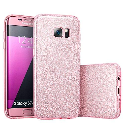 Coovertify Funda Purpurina Brillante Rosa Samsung S7 Edge, Carcasa Resistente de Gel Silicona con Brillo Rosa para Samsung Galaxy S7 Edge (5,5')