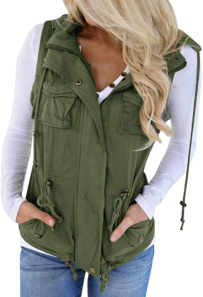 Hestenve Womens Military Sleeveless Vest Anorak Drawstring Lightweight Jacket