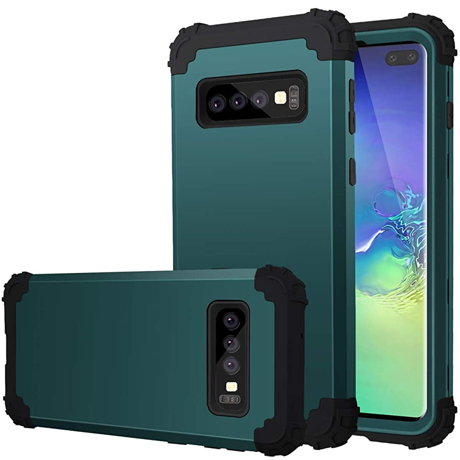 Fingic Galaxy S10 Plus Case, S10 Plus Heavy Duty Protection Hybrid Hard Plastic Silicone Rubber Bumper High Impact Shockproof Full-Body Protective Cover for Samsung Galaxy S10 Plus 2019, Aqua