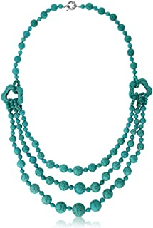 24inches Stunning Simulated Turquoise Howlite Beads Triple Strands Necklace w/Clasp