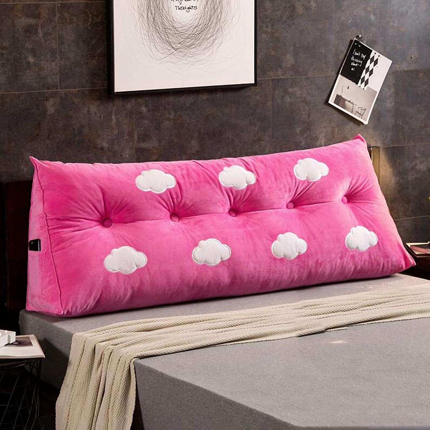RFJJAL Double Headboard Cushion Bedside Back Cushion Pillow Sofa Soft Bag Bed Cushion (color   E, Size   100x22x50cm)