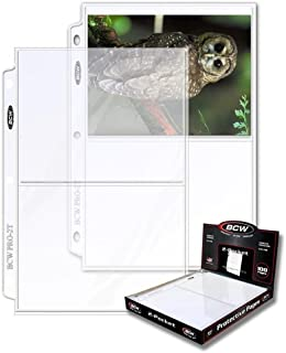 """BCW 2-Pocket Clear Protective Pages, Archival Safe Binder Pages 7-1/8"""" x 5-1/2"""", 100-Count per Pack (1-Pack)"""