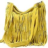 modamoda de - ital bandolera con flecos de gamuza T125, Color:amarillo