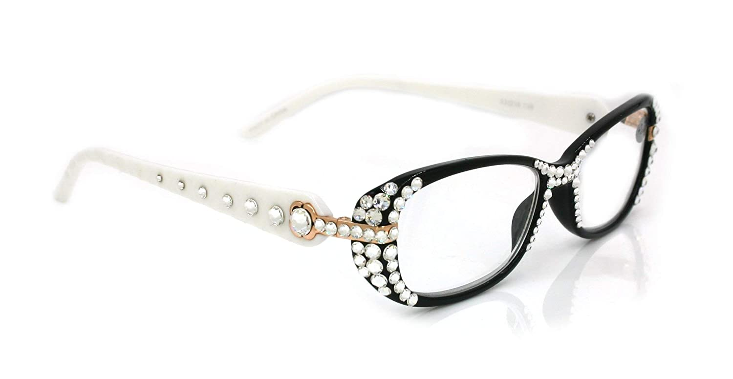 Glamour Free Shipping New Nippon regular agency Quilted Bling Reading Glasses Genuine with Women Clear