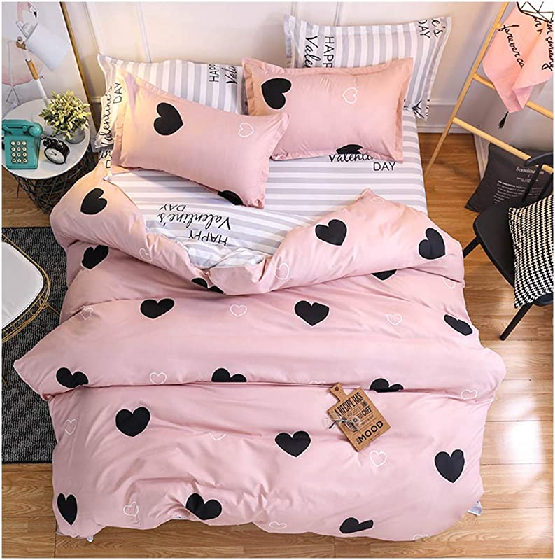 ORIHOME Bed Set Twin Sheets Set Love Heart Print 3 Piece Bedding Sets One Duvet Cover Two Pillowcase Soft Microfiber Teen Bedding For Bedroom Without Quilt Love Heart Pink Twin 66 X86