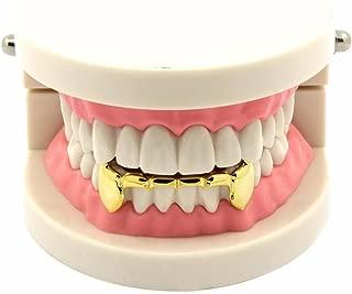 TSANLY 24K Gold Plated Grillz Bottom Vampire Fangs Grill Hip Hop Teeth Caps + Extra Molding Bars + Microfiber Cloth