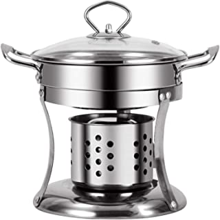 Stainless Steel Chafing Dish Alcohol Hotpot, Single Mini Cooking Pot Cookware, Great for Entertaining And for Personalizin...
