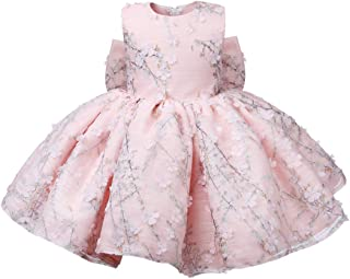 Baby Girl Dress Floral Pink Tulle Kids Party Christening 1st Birthday Gown Infant Baptism Wedding Gowns