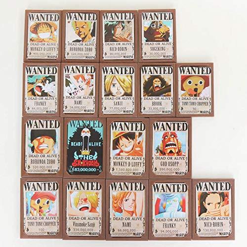 MNZBZ Anime One Piece Wanted Posters Figura Mesa Escritorio Decoración Juguete Luffy Nami Sanji Zoro Chooper Law Wanted Posters Juguetes-1
